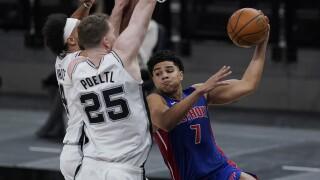 Killian Hayes, Jakob Poeltl, Derrick White Pistons Spurs Basketball