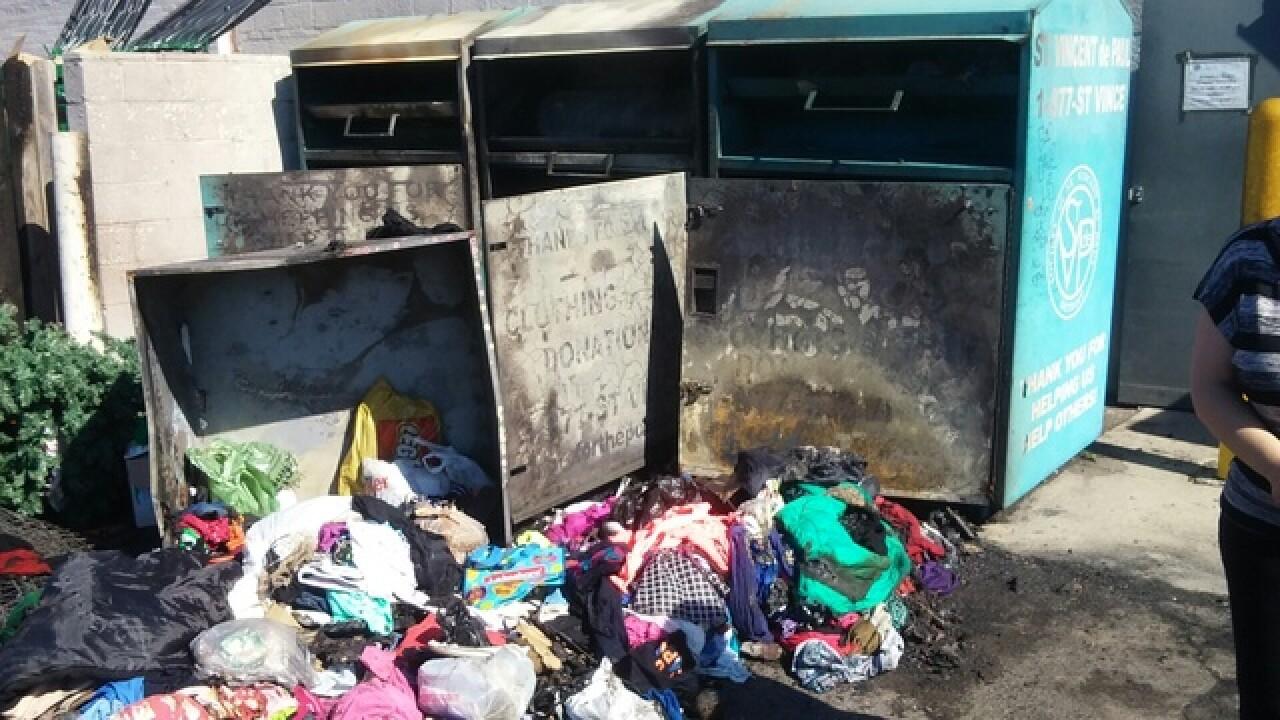St. Vincent de Paul donation bins set on fire