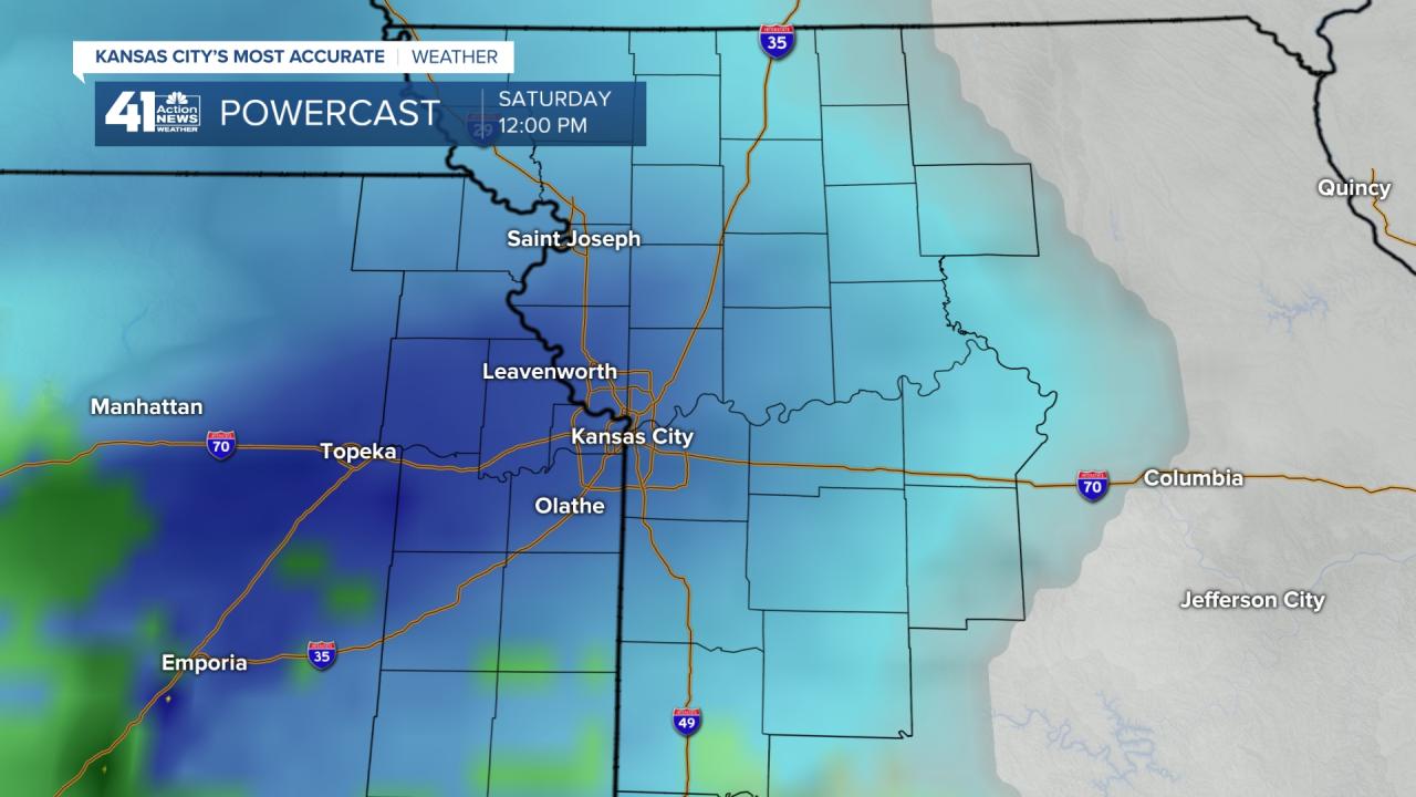 Blue Shows Snow Saturday