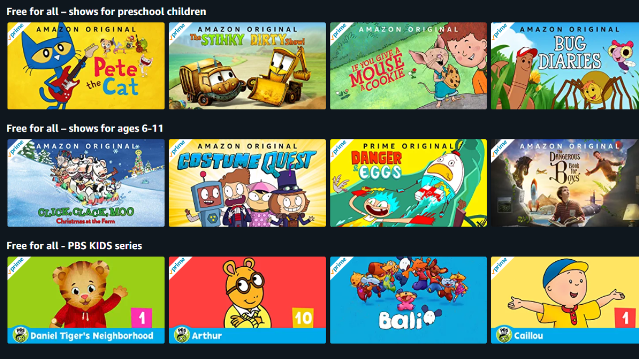 Amazon Prime Streaming Kids Movies Tv Shows For Free
