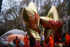 Parade volunteers work on Macys balloons during the inflation process on November 27, 2019 in New York City.
