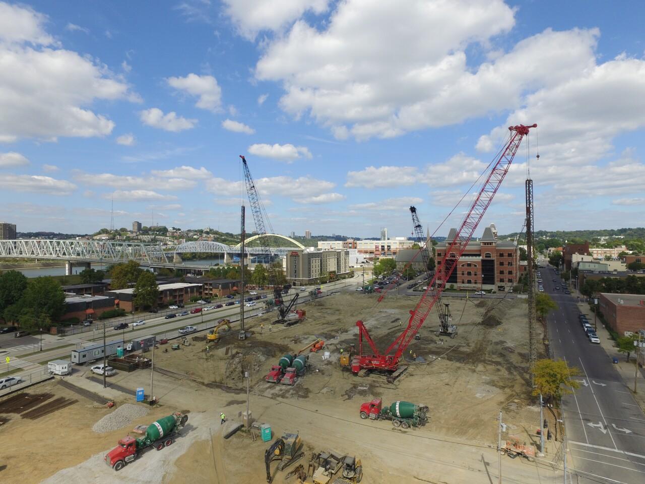 Construction at concert venue in Newport.
