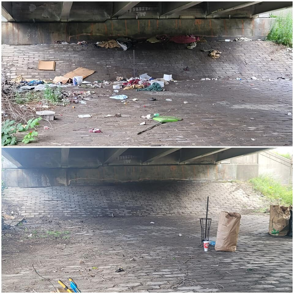 Before and after trash pick up