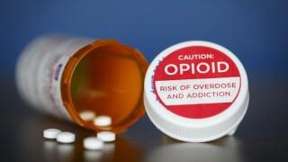 Bottle of pills marked 'OPIOID'