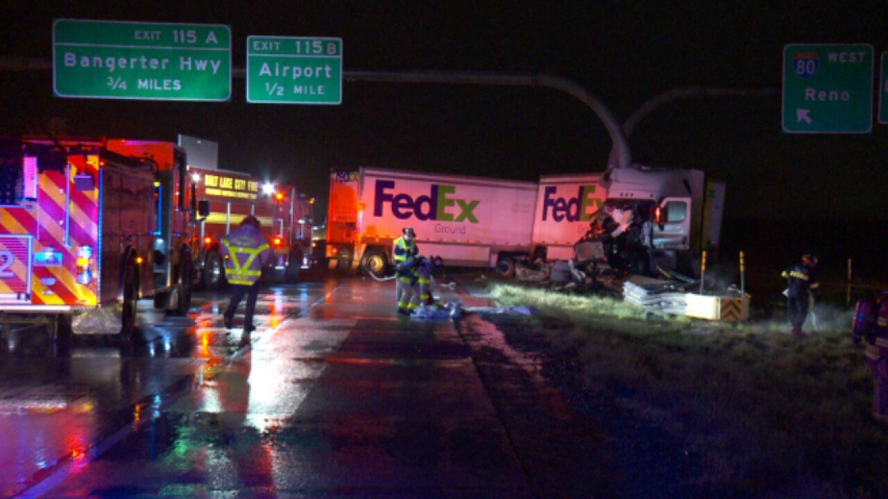 FedEx truck jack-knifes on I-80, spills diesel fuel