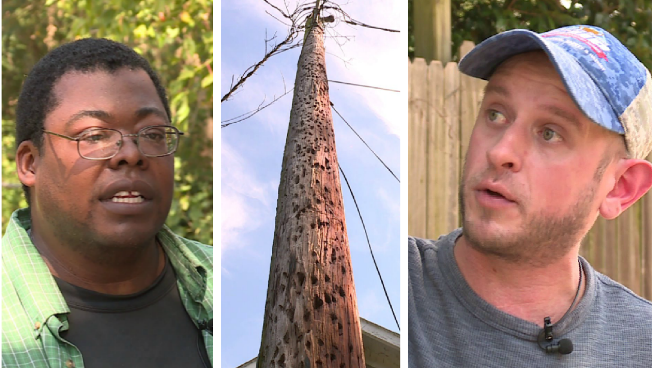Chesterfield neighbors concerned 'crumbling' utility pole could fall on theirhomes