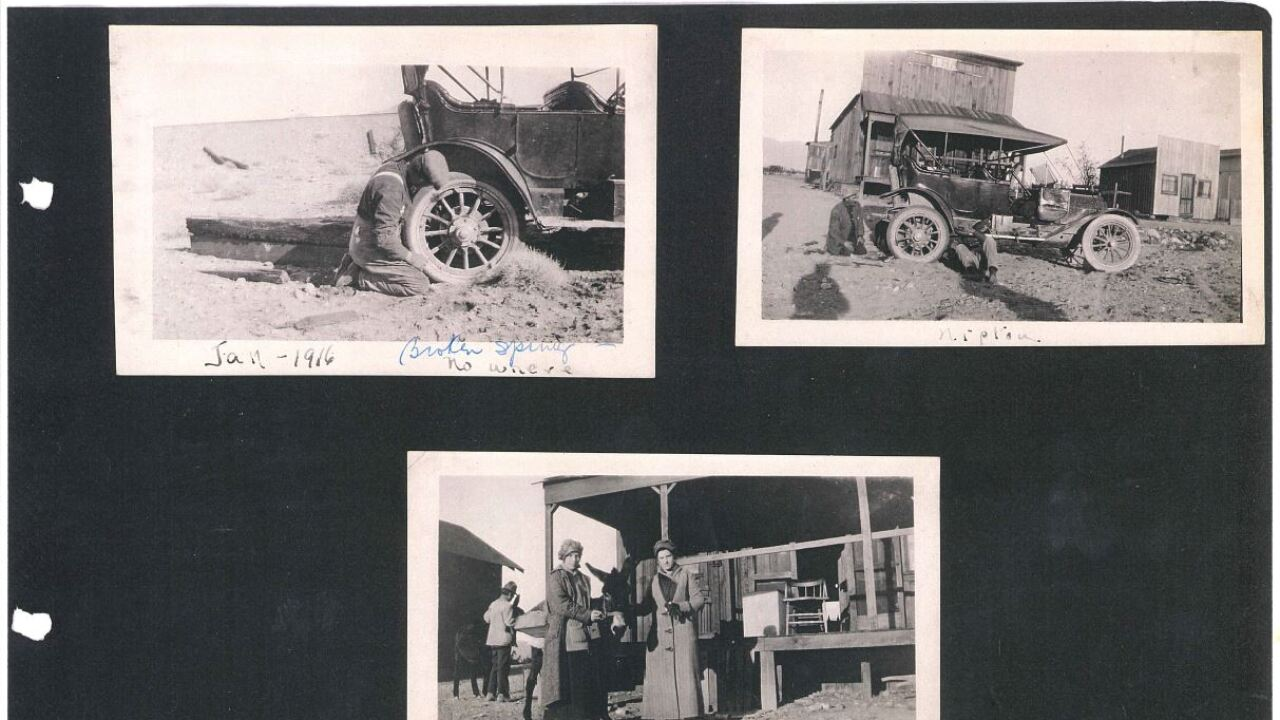 These are photos provided by Nipton, Calif., owner Roxanne Lang showing the town dating back more than 90 years.