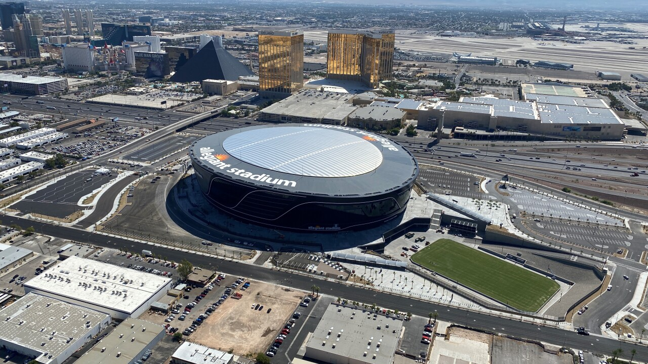 Allegiant Stadium is located next to the Las Vegas Strip