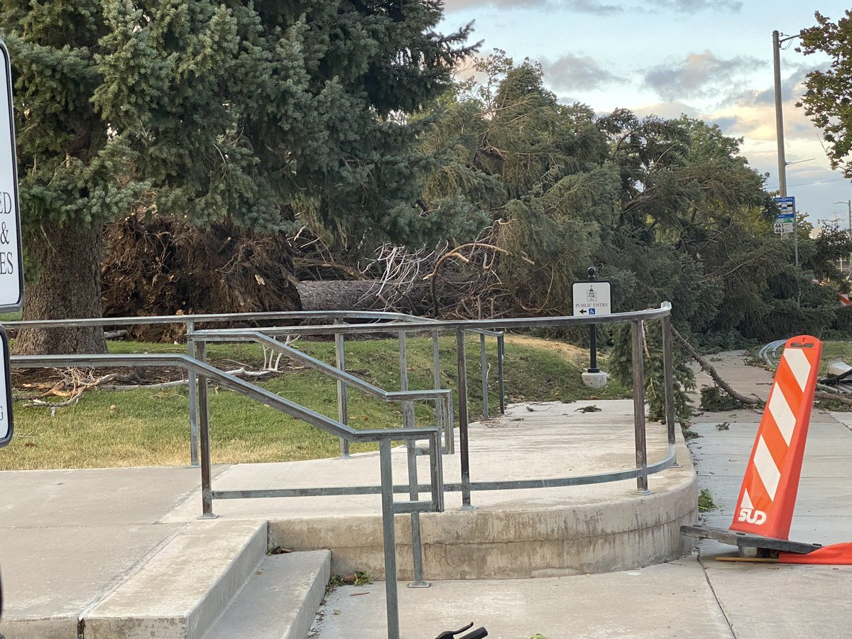 Wind damage at State Capitol
