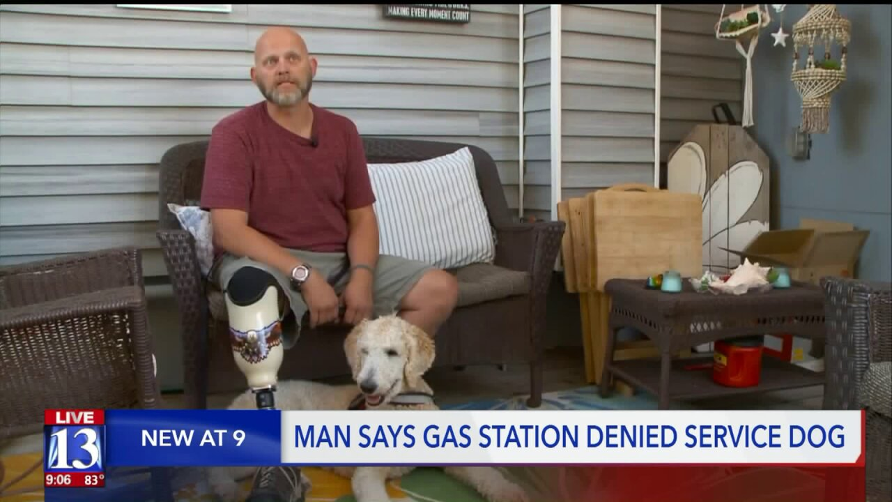 Man says Ogden gas station wouldn't allow his service doginside