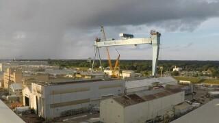 Watch: Time lapse of lift of Newport News Shipyard's massive newcrane