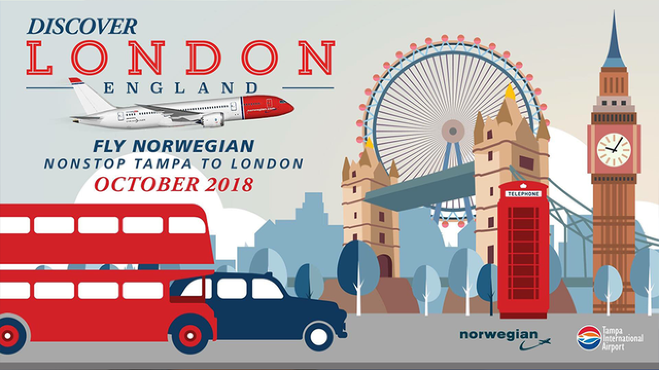 Norwegian airlines to offer flights to London from Tampa beginning Fall 2018