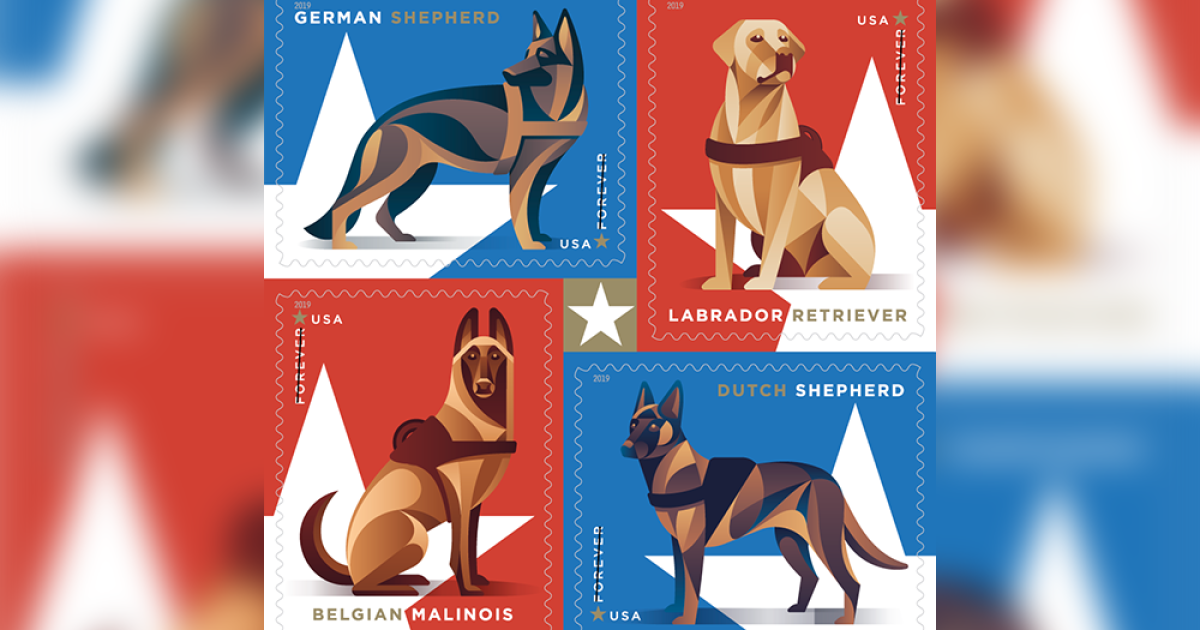 New USPS stamps issued today honor military dogs