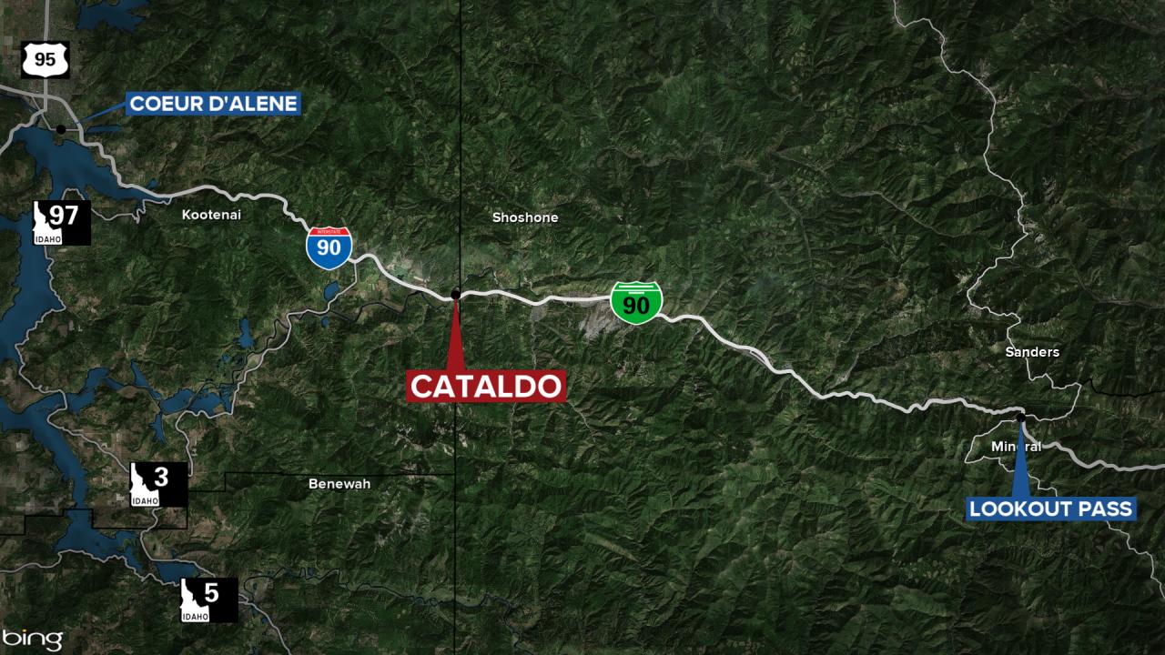 Cataldo Idaho I90 Fire Map