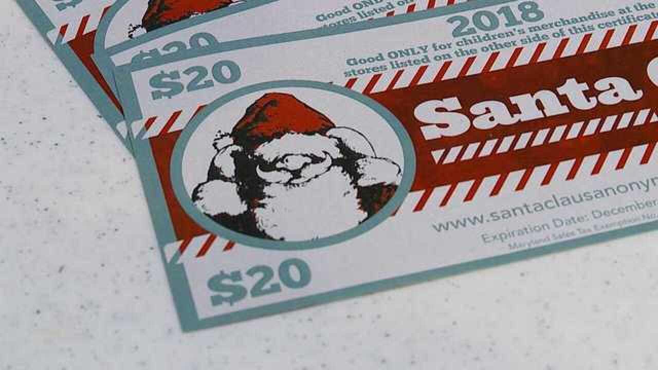 Santa certificates help families buy presents