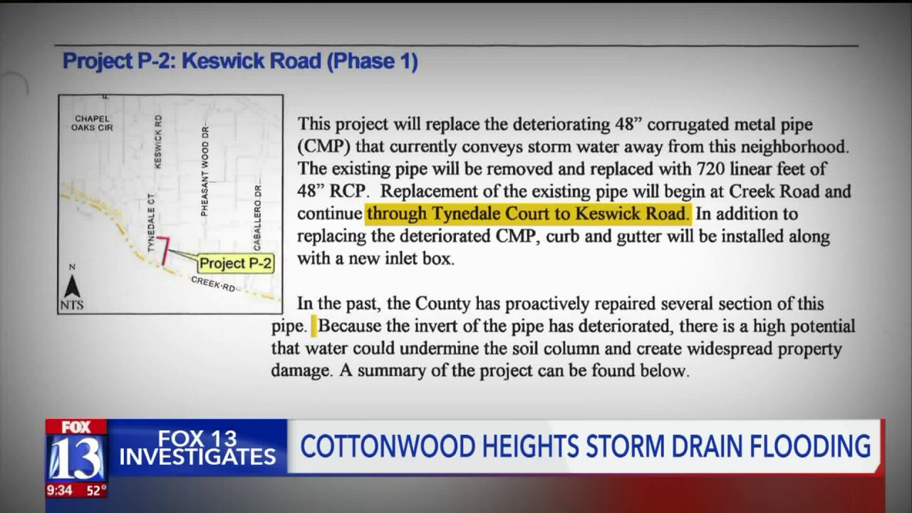 FOX 13 Investigates: Cottonwood Heights ignored critical repairs suggested in 2006 predicting 'widespread property damage'