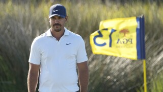 Brooks Koepka waits to putt on 13th hole during second round of 2021 PGA Championship