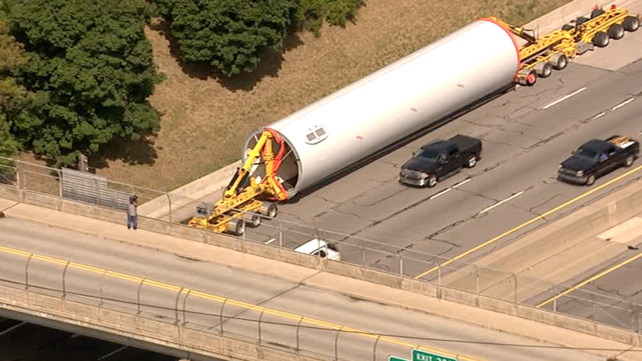 Truck gets stuck trying to go under bridge on I-94