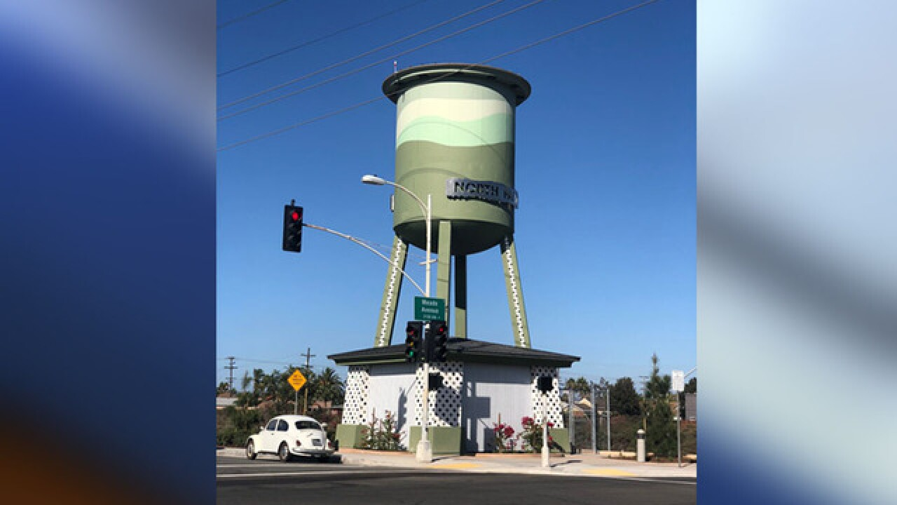 Cell tower disguised as water tower set up in North Park