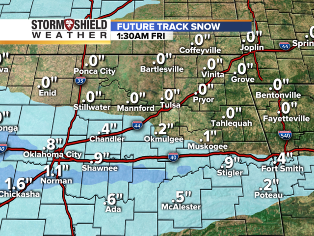 Snow in Oklahoma? Timeline of future track radar of accumulations in Oklahoma