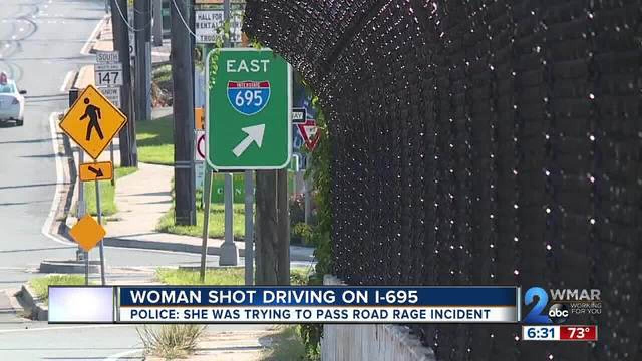 Woman shot on I-695 in road rage incident