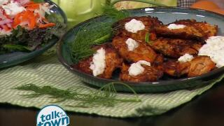 Pick TN Products Kohlrabi Fritters with Creamy Cucumber Dressing