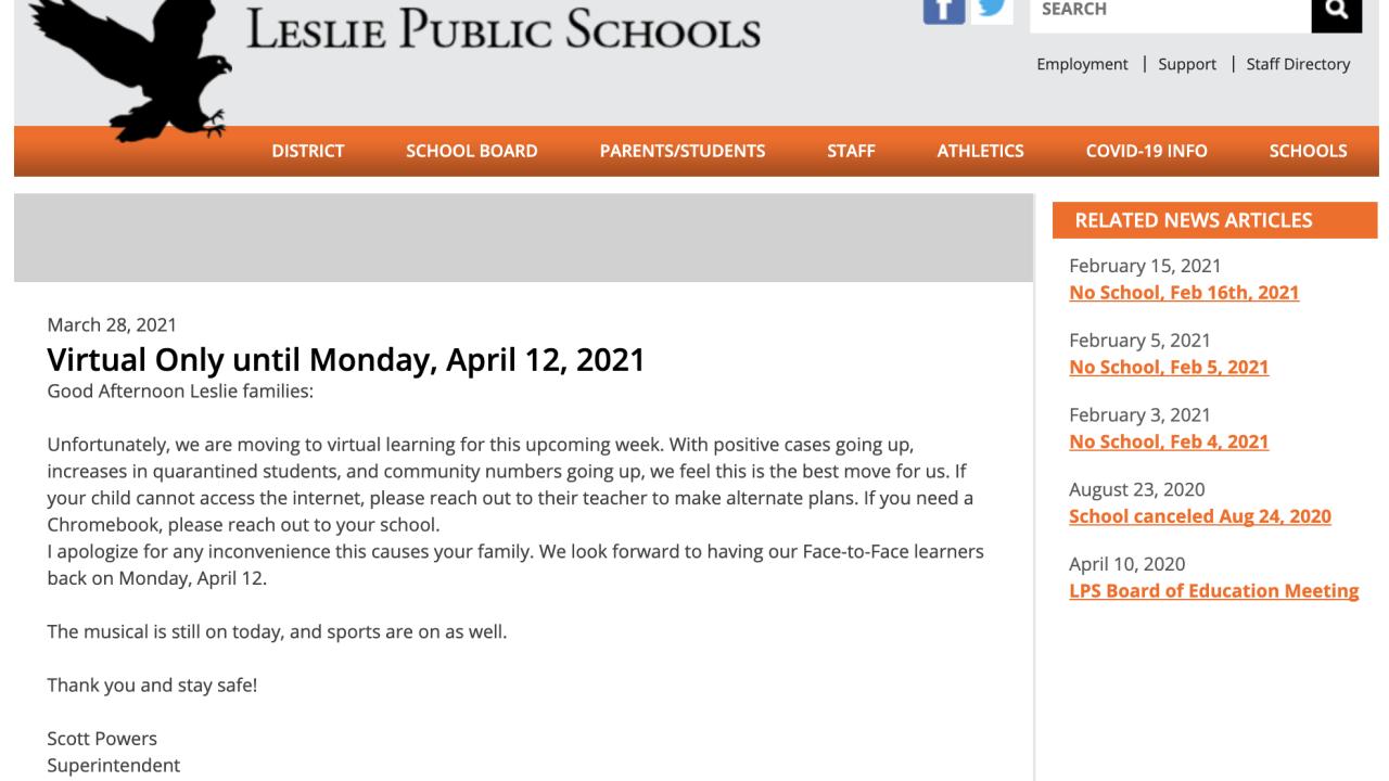 Leslie Public Schools website screenshot