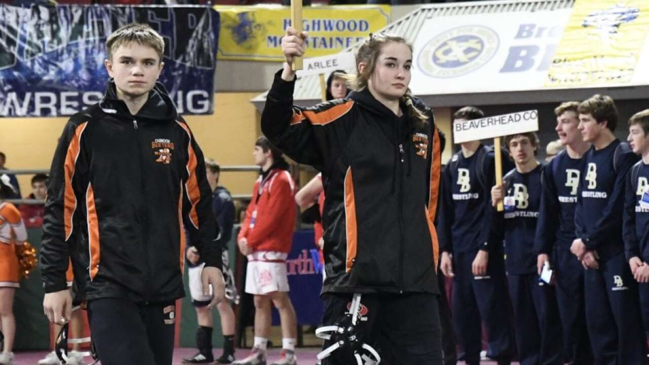 Chinook's Rebecca Stroh wins first all-female match in Montana state wrestling history