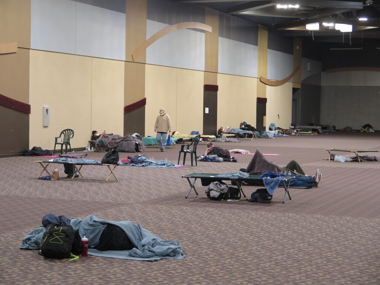 Inside Northern Kentucky Convention Center shelter.JPG