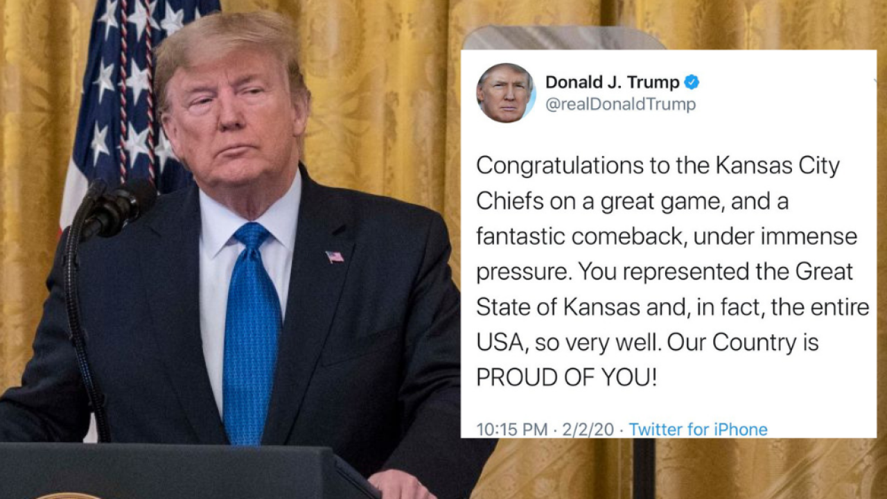 Trump deletes tweet congratulating state of Kansas for Kansas City Chiefs Super Bowl victory