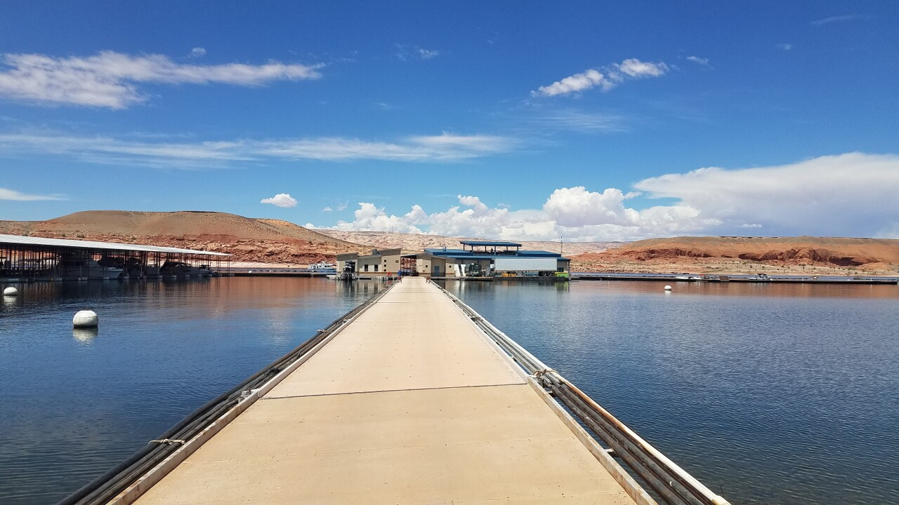 Potable water pipe temporarily shut down at marina at Lake Powell due to leak