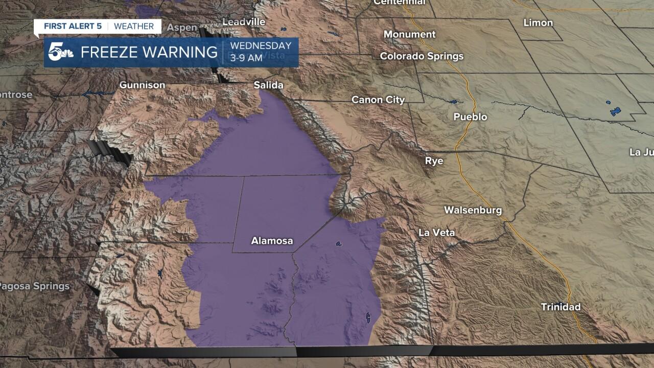 San Luis Valley Freeze Warning