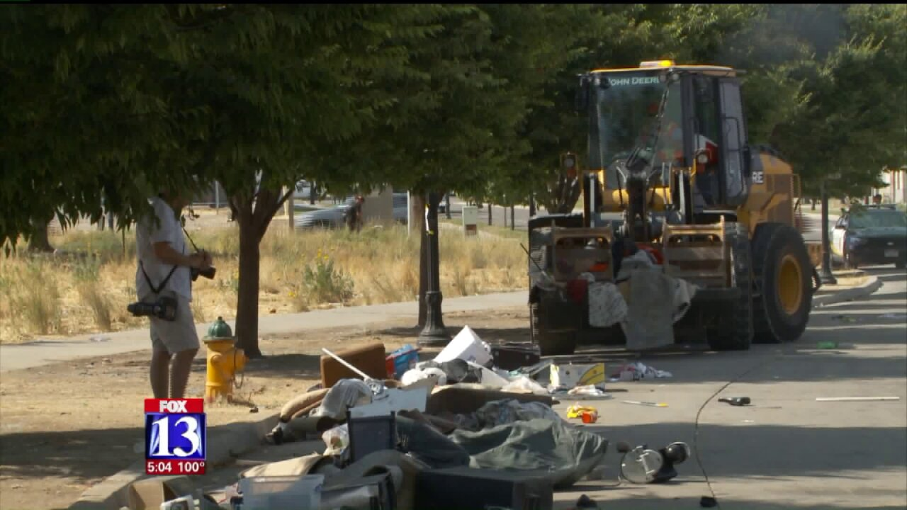 Health department uses heavy machinery to clean up homeless camp in Salt LakeCity