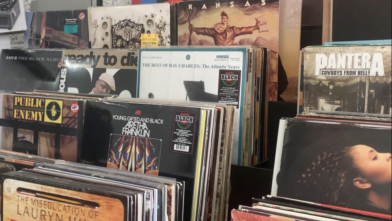 Records on shelf
