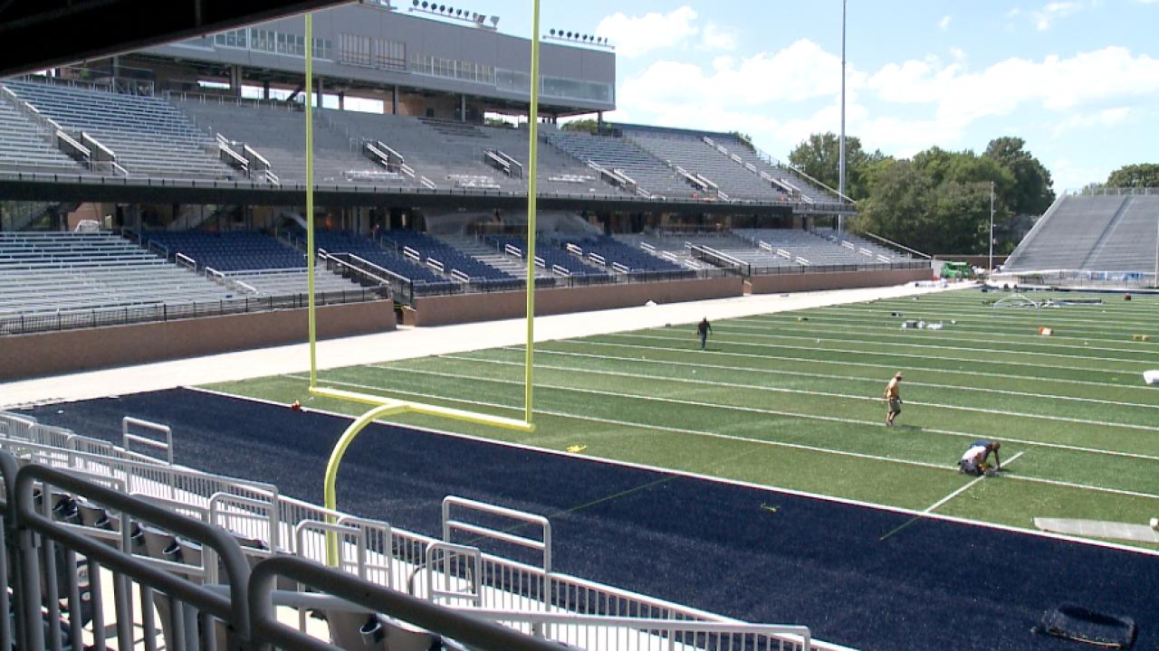 LOOK: Crews install turf field at ODU football's new S.B. BallardStadium