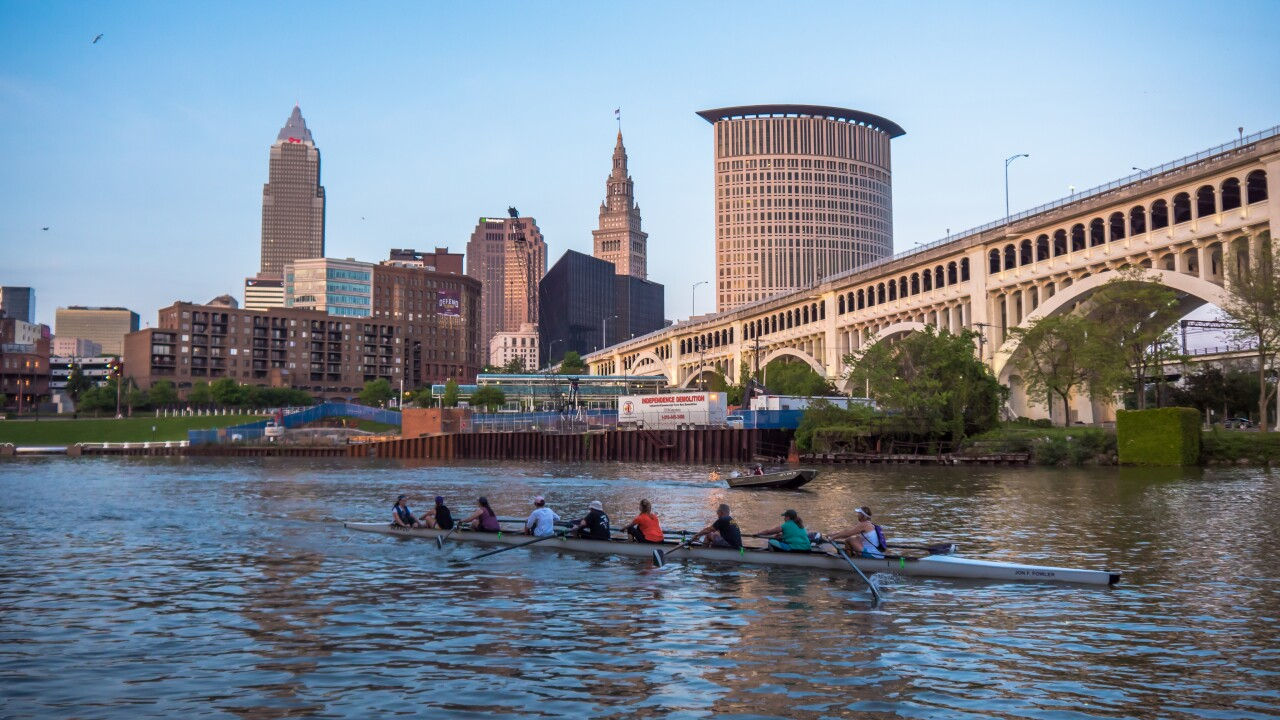 File image: Crew team rowing down Cuyahoga River.