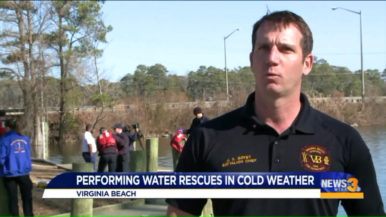 Virginia Beach Fire holds cold-water rescue training