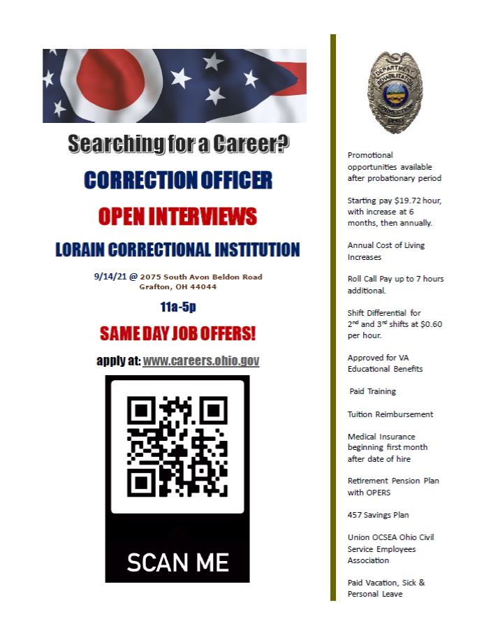 Corrections officer hiring event