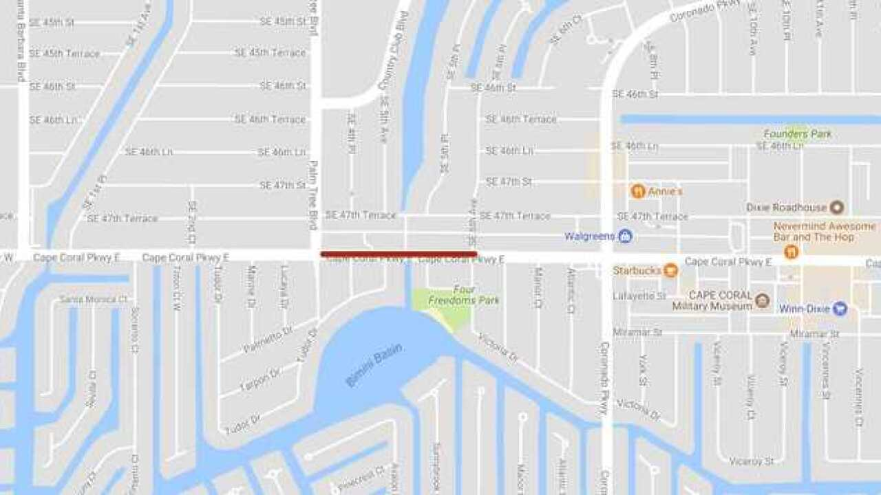 Cape Coral Parkway lane closure due to road construction beginning Monday