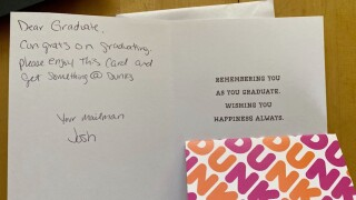 Mailman leaves handwritten notes, gift cards for 2020 grads on his route