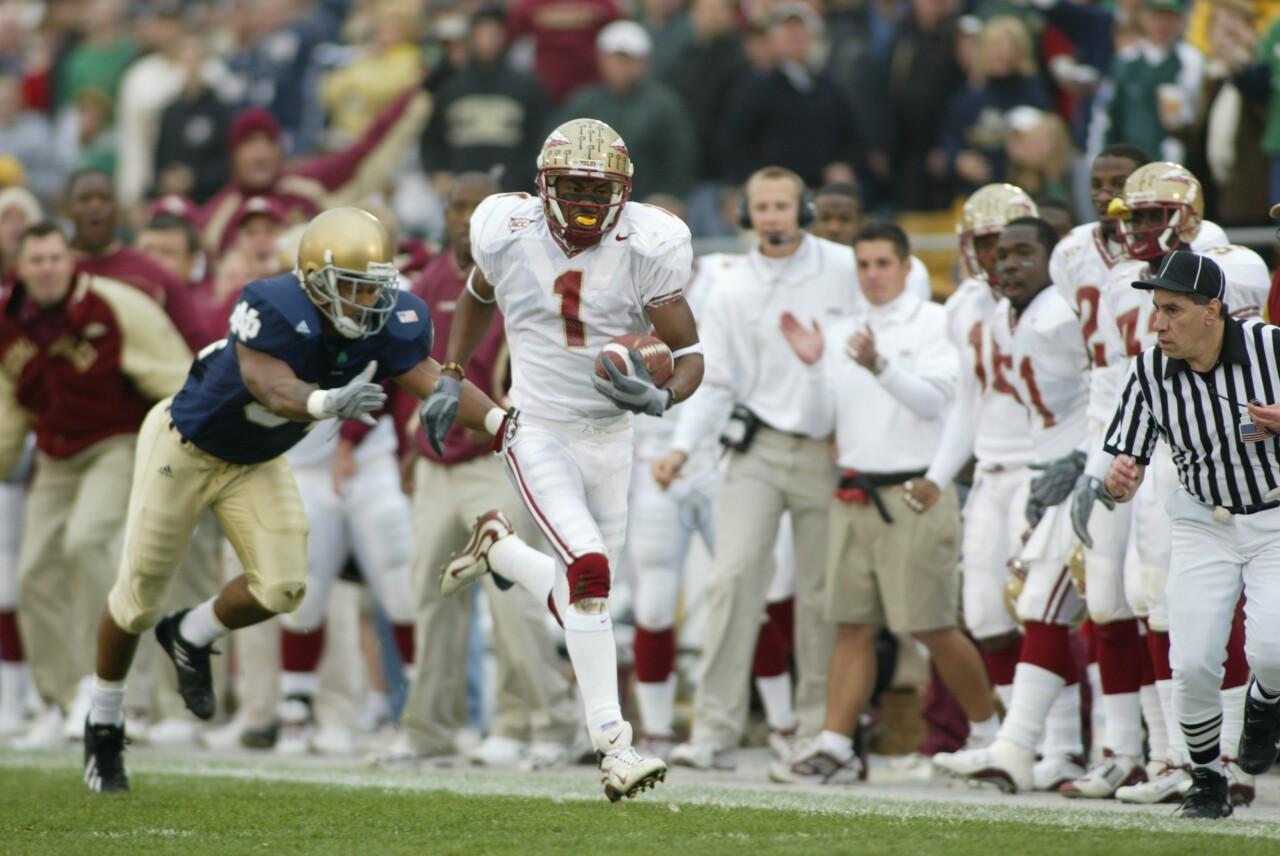 Florida State Seminoles receiver Craphonso Thorpe runs for TD vs. Notre Dame in 2003