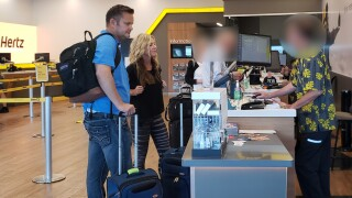 Lori and Chad Daybell at a car rental counter in Maui on Sunday, Feb. 16. | Courtesy Ursula Berliner