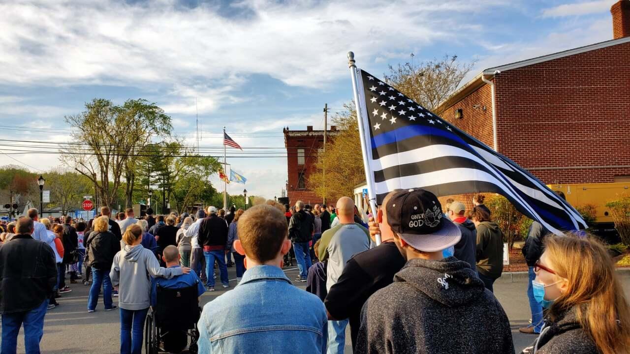 Police Department vigil for assaulted officer