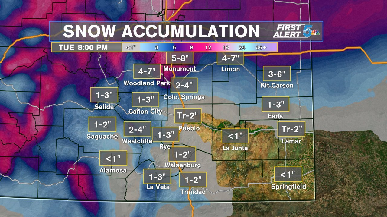 Snow accumulation forecast Monday night & Tuesday
