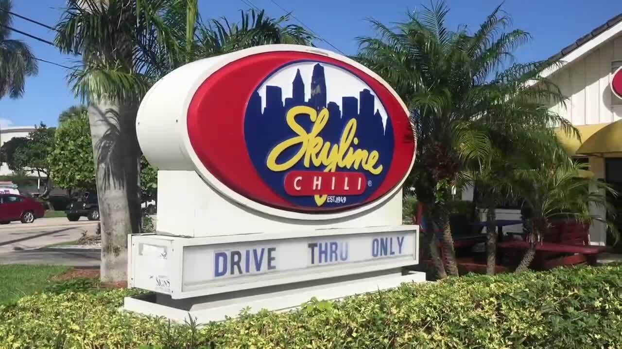 Skyline Chili 'drive-thru only' sign in Fort Lauderdale