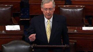 Senate Majority Leader Mitch McConnell, speaks on the Senate floor