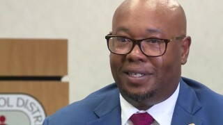 Palm Beach County Superintendent Dr. Donald Fennoy speaks to WPTV with tear in his eye, July 14, 2021.jpg