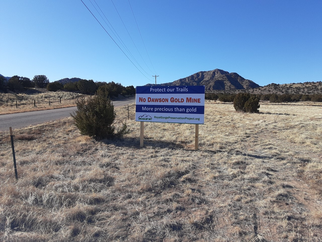 Signs in the yards of those living in Fremont County who oppose the mine.