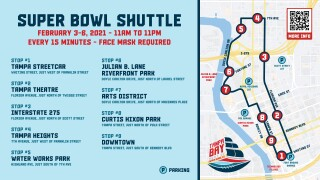 Super Bowl Shuttle Map Graphic with QR Code