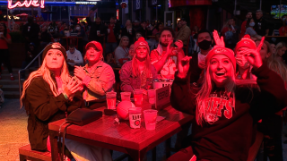 Chiefs fans at Power and Light watch Chiefs home opener